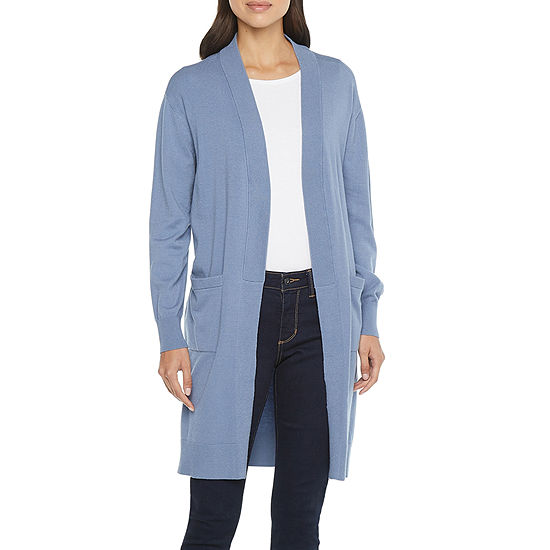 Worthington Womens Long Sleeve Relaxed Faux Lapel Cardigan