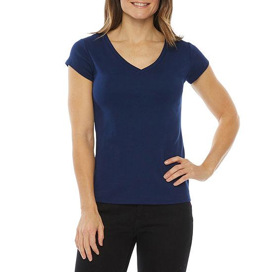 Liz Claiborne Womens Scoop Neck Short Sleeve T-Shirt