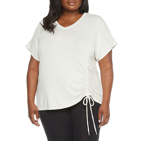 Stylus Shirred Side Womens Plus V Neck Short Sleeve T-Shirt