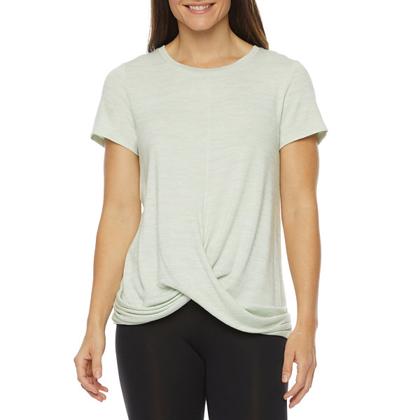 Stylus Twist Front Womens Round Neck Short Sleeve T-Shirt