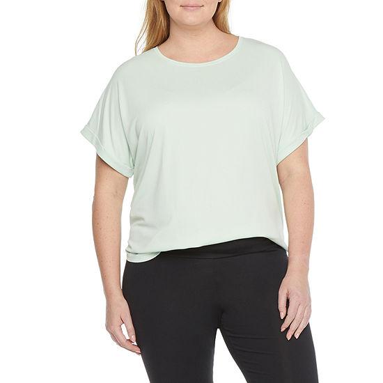 Stylus Shirttail Womens Plus Round Neck Short Sleeve T-Shirt