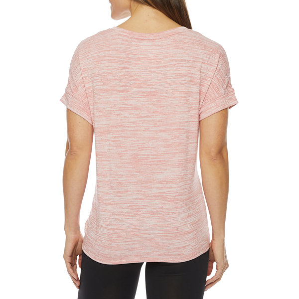 Stylus Shirred Side Womens V Neck Short Sleeve T-Shirt