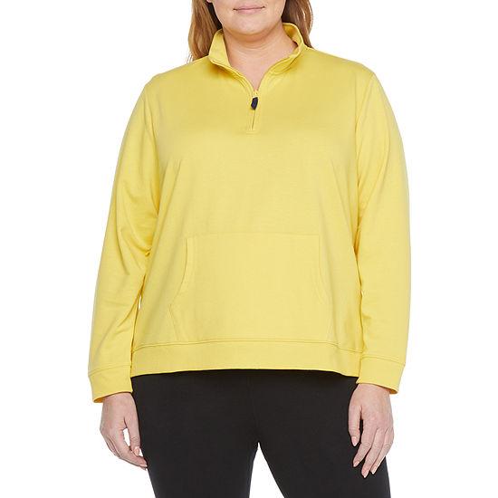 St. John's Bay Plus Womens Long Sleeve Quarter-Zip Pullover