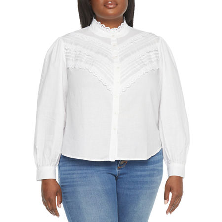 Edwardian Blouses |  Lace Blouses & Sweaters a.n.a.-Plus Womens Long Sleeve Blouse 2x  White $24.74 AT vintagedancer.com