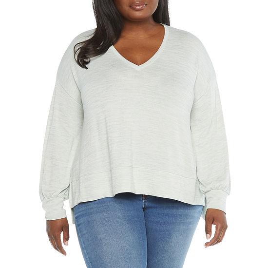 a.n.a Womens Plus V Neck Long Sleeve T-Shirt