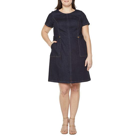 Liz Claiborne Womens Topstitch Dress - Plus