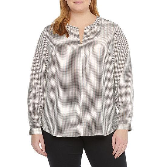 Liz Claiborne Womens Split Crew Neck Long Sleeve Shirt - Plus