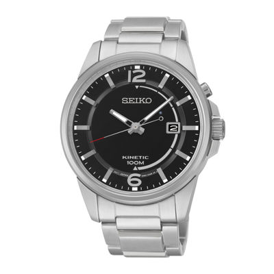 Seiko® Mens Stainless Steel Kinetic Watch SKA671