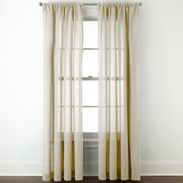 JCPenney Home™ Cotton Classics Solid Rod-Pocket Curtain Panel ...
