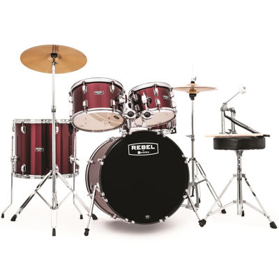 "Mapex RB5044FTCDR Rebel 5-pc. Drum Set with Hardware & Cymbals with 20"" Bass Drum"