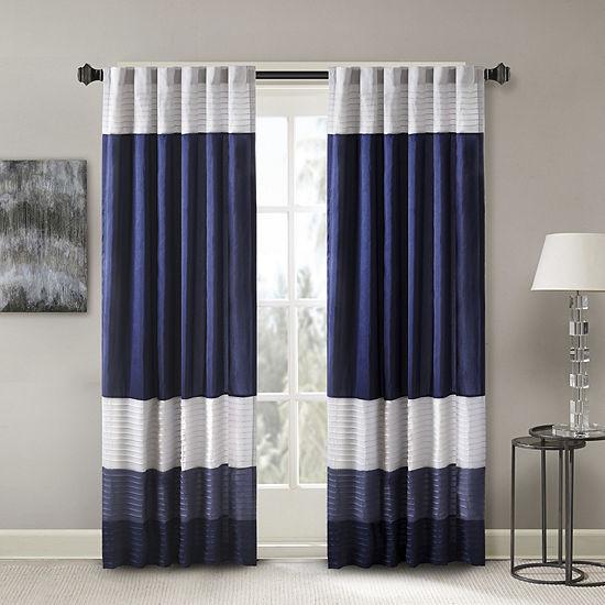 Madison Park Amador Polyoni Pintruck-Striped Energy Saving Light-Filtering Rod-Pocket Single Curtain Panel