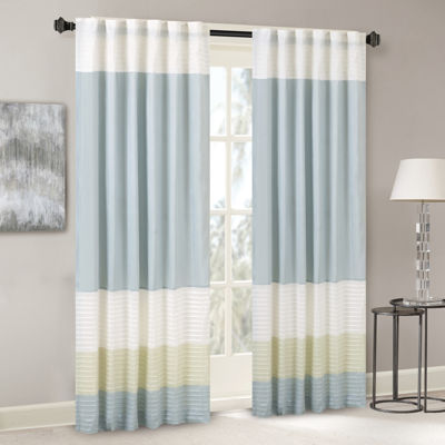 Madison Park Chester Polyoni Pintuck-Striped Rod-Pocket Curtain Panel