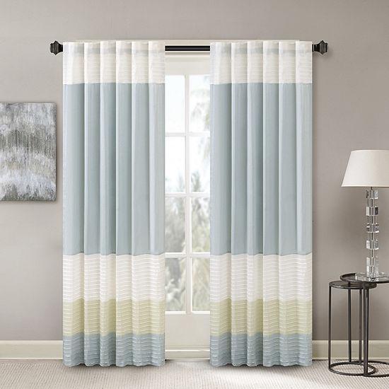 Madison Park Chester Energy Saving Light-Filtering Rod-Pocket Single Curtain Panel