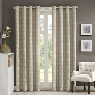 Madison Park Vella Jacquard Ogee Grommet-Top Curtain Panel