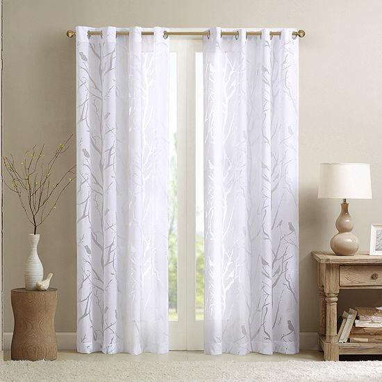 Madison Park Vina Bird Burnout Sheer Grommet-Top Single Curtain Panel