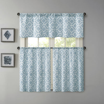 Madison Park 2-Pack Ella Diamond- Printed Rod-Pocket Kitchen Window Tiers