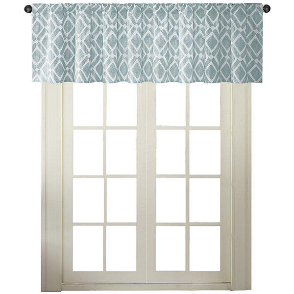 Madison Park Ella Diamond-Printed Rod-Pocket Valance