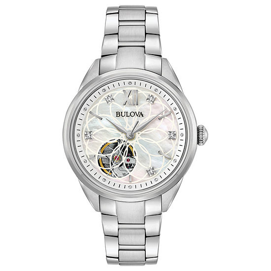 Bulova Sutton Womens Automatic Silver Tone Bracelet Watch-96p181