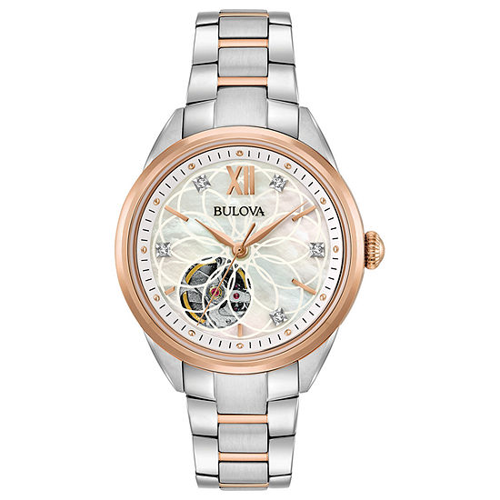 Bulova Sutton Womens Automatic Two Tone Bracelet Watch-98p170