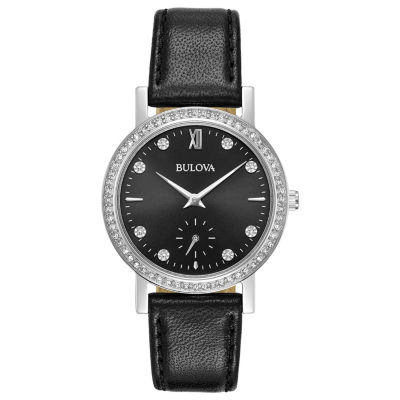 Bulova Womens Black Strap Watch-96l246