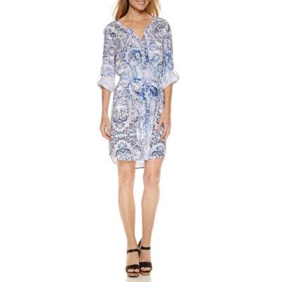 a.n.a Long Sleeve Shirt Dress