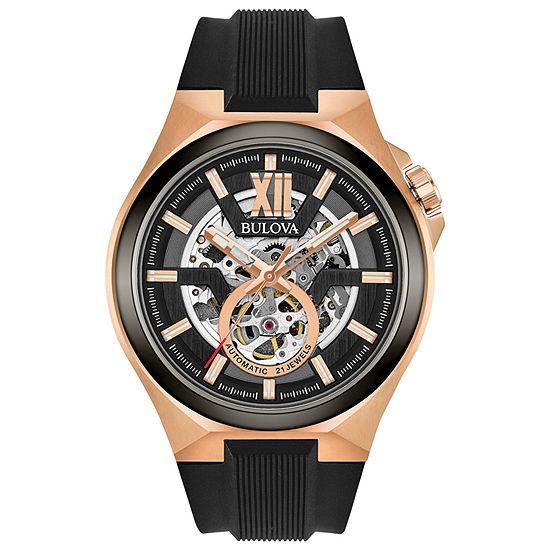 Bulova Maquina Mens Automatic Black Strap Watch-98a177