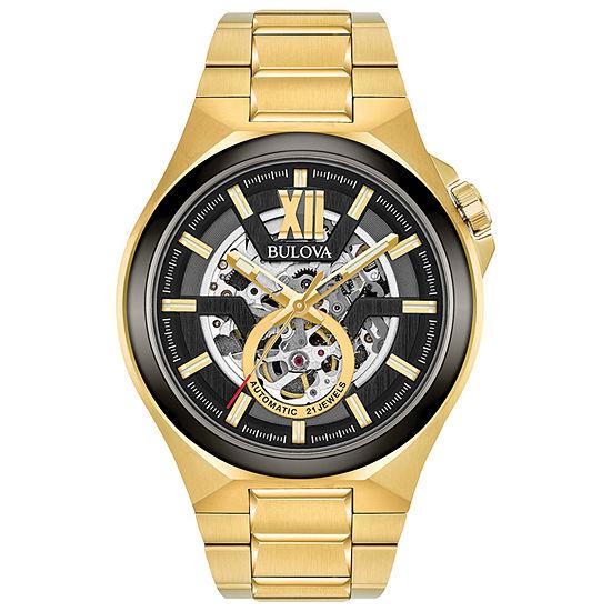Bulova Maquina Mens Automatic Gold Tone Bracelet Watch-98a178