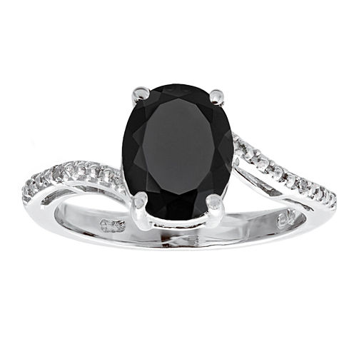 Womens Diamond Accent Black Onyx Sterling Silver Cocktail Ring