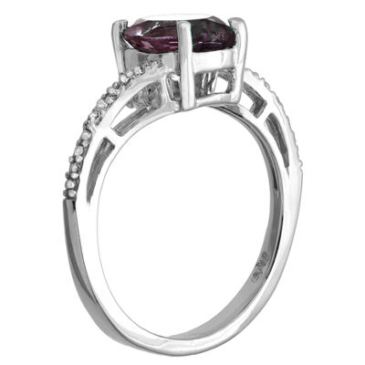 Womens Diamond Accent Purple Sterling Silver Cocktail Ring