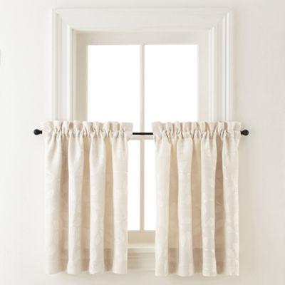 JCPenney Home Quinn Leaf 2-Pack Rod-Pocket Window Tiers