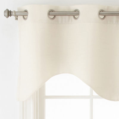 JCPenney Home Quinn Basketweave Grommet-Top Scalloped Valance