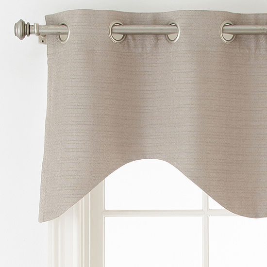 Liz Claiborne Quinn Basketweave Grommet Top Single Scalloped Valance