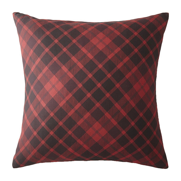 Scrollwork Euro Sham Red Plaid