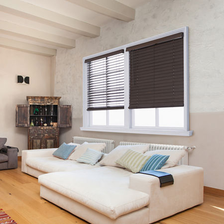 """JCPenney Home Distressed 2 1/2"""" Cut-to-Width Cordless Faux Wood Blinds, One Size , Brown"""