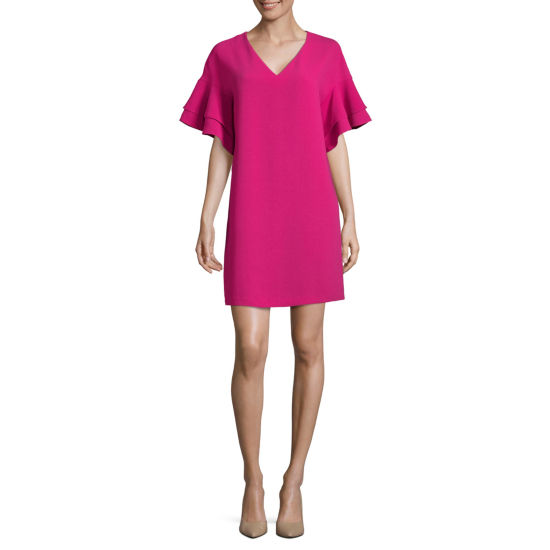 Worthington Short Sleeve Tiered Ruffle Sleeve Shift Dress