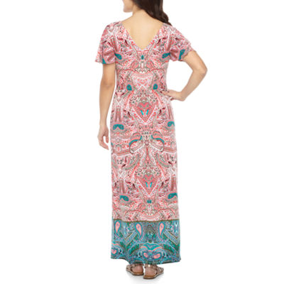 London Style Short Sleeve Maxi Dress