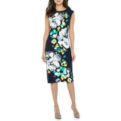 London Style Short Sleeve Pattern Sheath Dress