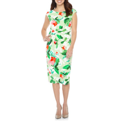 London Style Cap Sleeve Floral Sheath Dress