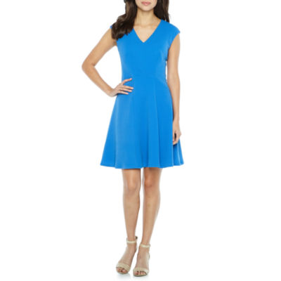 London Style Cap Sleeve Fit & Flare Dress