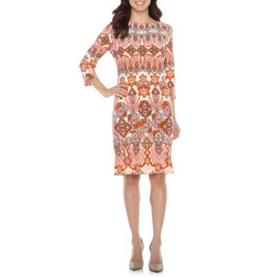 London Style 3/4 Sleeve Print Shift Dress