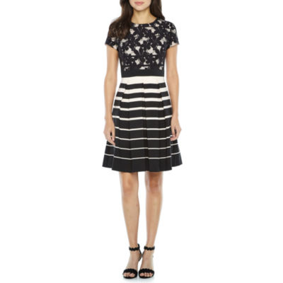 Danny & Nicole Short Sleeve Lace Stripe Fit & Flare Dress