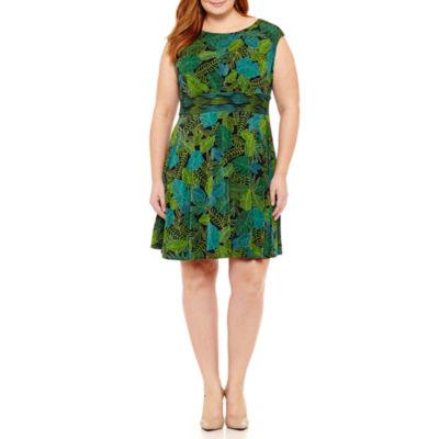 London Times Sleeveless Pattern Fit & Flare Dress-Plus