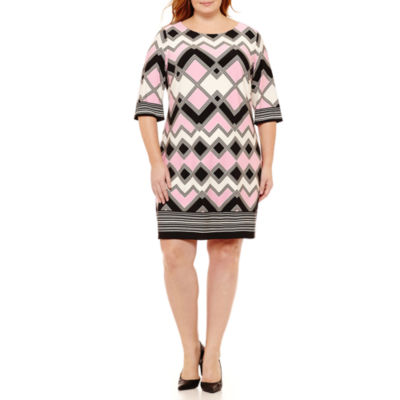 Studio 1 3/4 Sleeve Geometric Sheath Dress - Plus