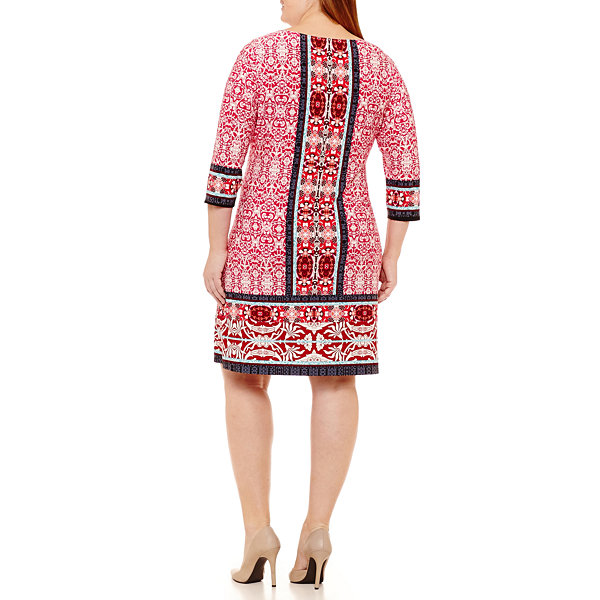 London Times 3/4 Sleeve Pattern Shift Dress - Plus