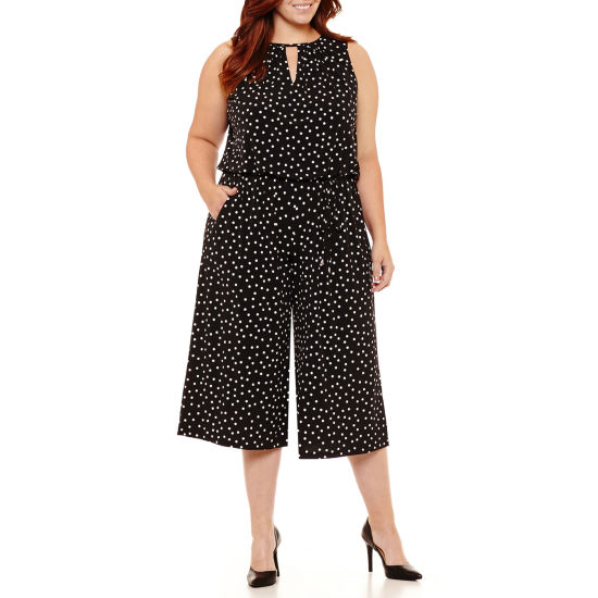 London Times Sleeveless Jumpsuit - Plus