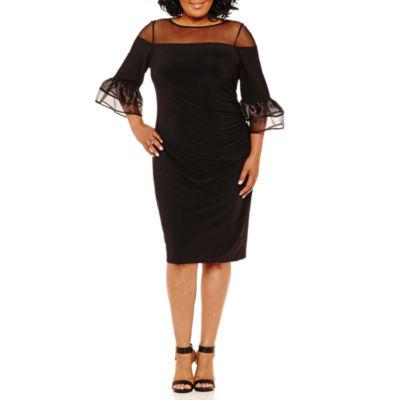 Blu Sage 3/4 Sleeve Party Dress-Plus
