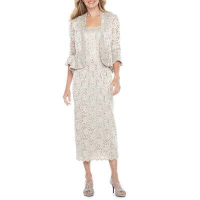 R & M Richards 3/4 Bell Sleeve Lace Jacket Dress