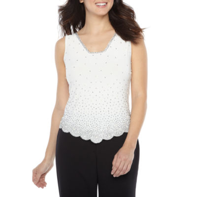 MSK Womens V Neck Sleeveless Embellished Blouse