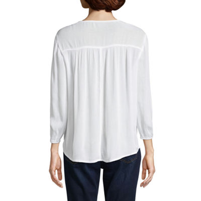 St. John's Bay 3/4 Sleeve Embroidered Bib Blouse - Tall