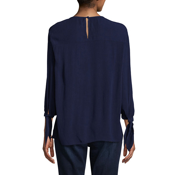 St. John's Bay Embroidered Peplum Blouse - Tall